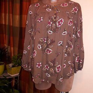 St John's Bay Floral blouse 3/4 sleeve